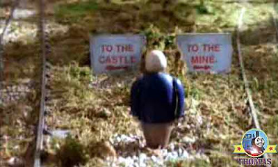 Sir Topham Hatt signboard notices read to the old knights castle the other to the quarry mine pit