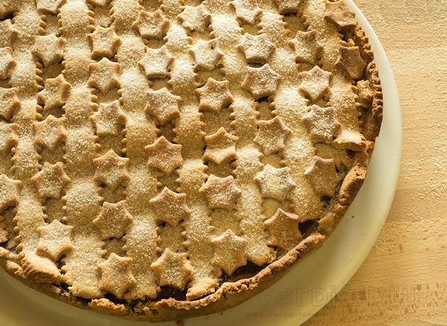 crostata con farina di marroni alle due creme