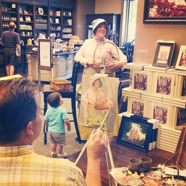 Richard Lance Russell live painting demonstration at Deseret Book in downtown Salt Lake City