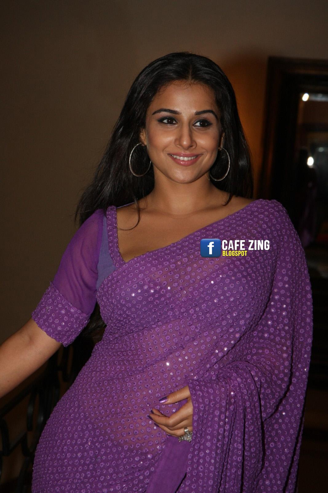 celeb 360: vidya balan hot in transparent purple saree