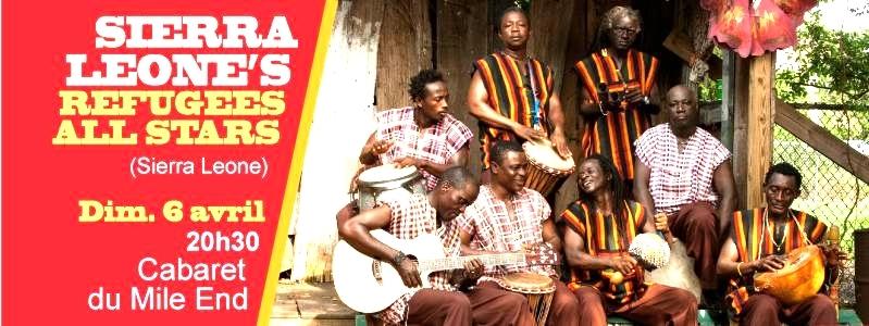 Sierra Leone's Refugee All Stars en spectacle à Montréal dimanche 6 avril