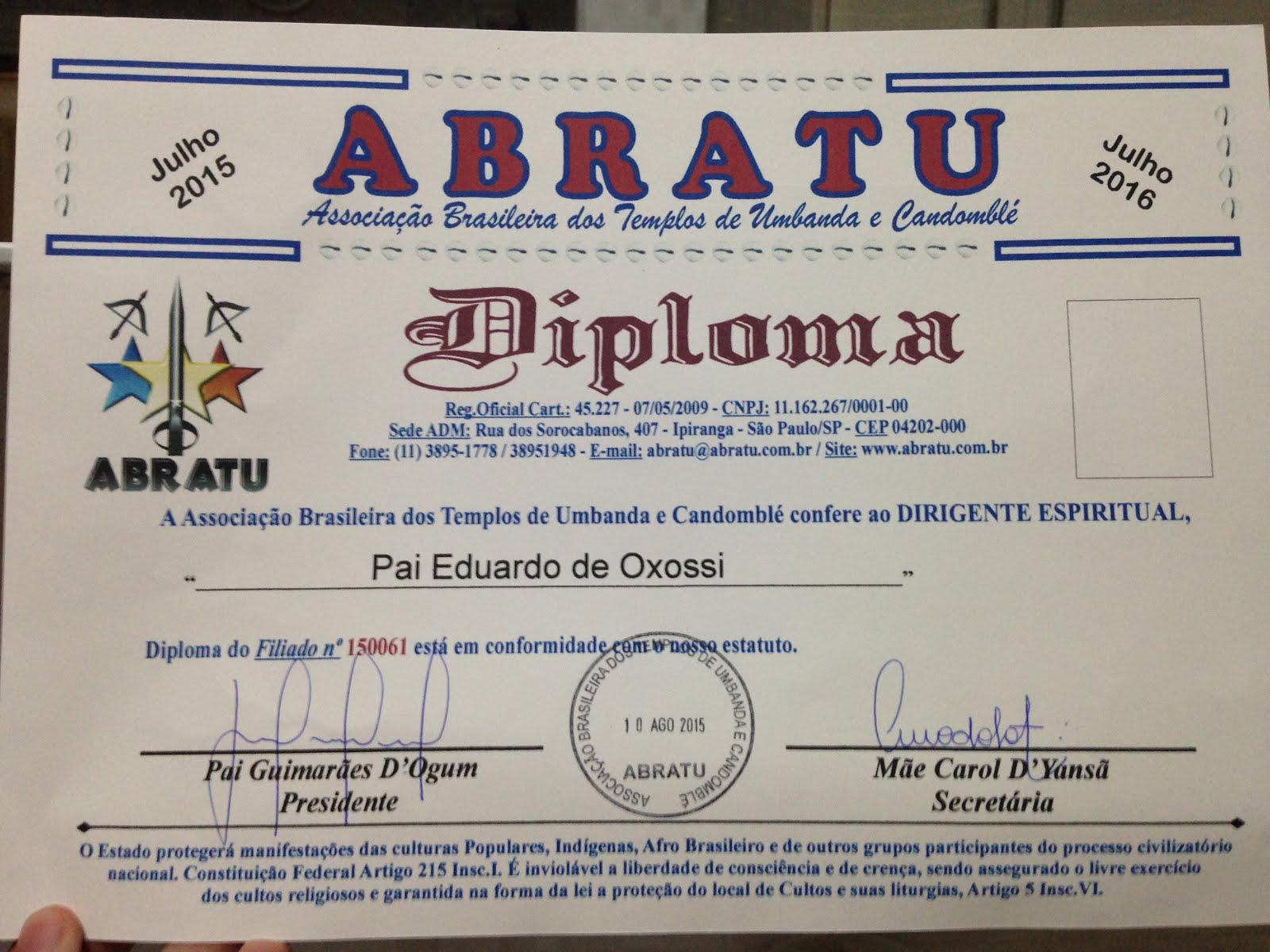 """Certificado: """"Sacerdócio de Umbanda"""""""