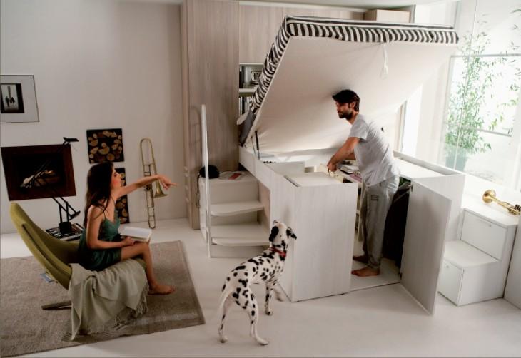 Cama espectacular com muito espa o de armazenamento decora o e ideias for Letto matrimoniale rialzato