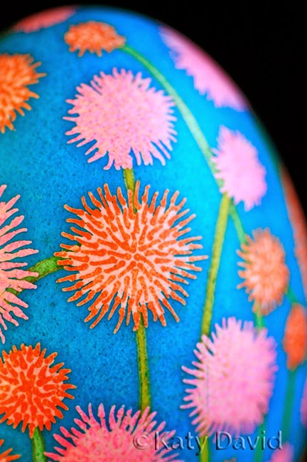 ©Katy David Friday Egg: Hot Blazes Goose Egg Pysanky