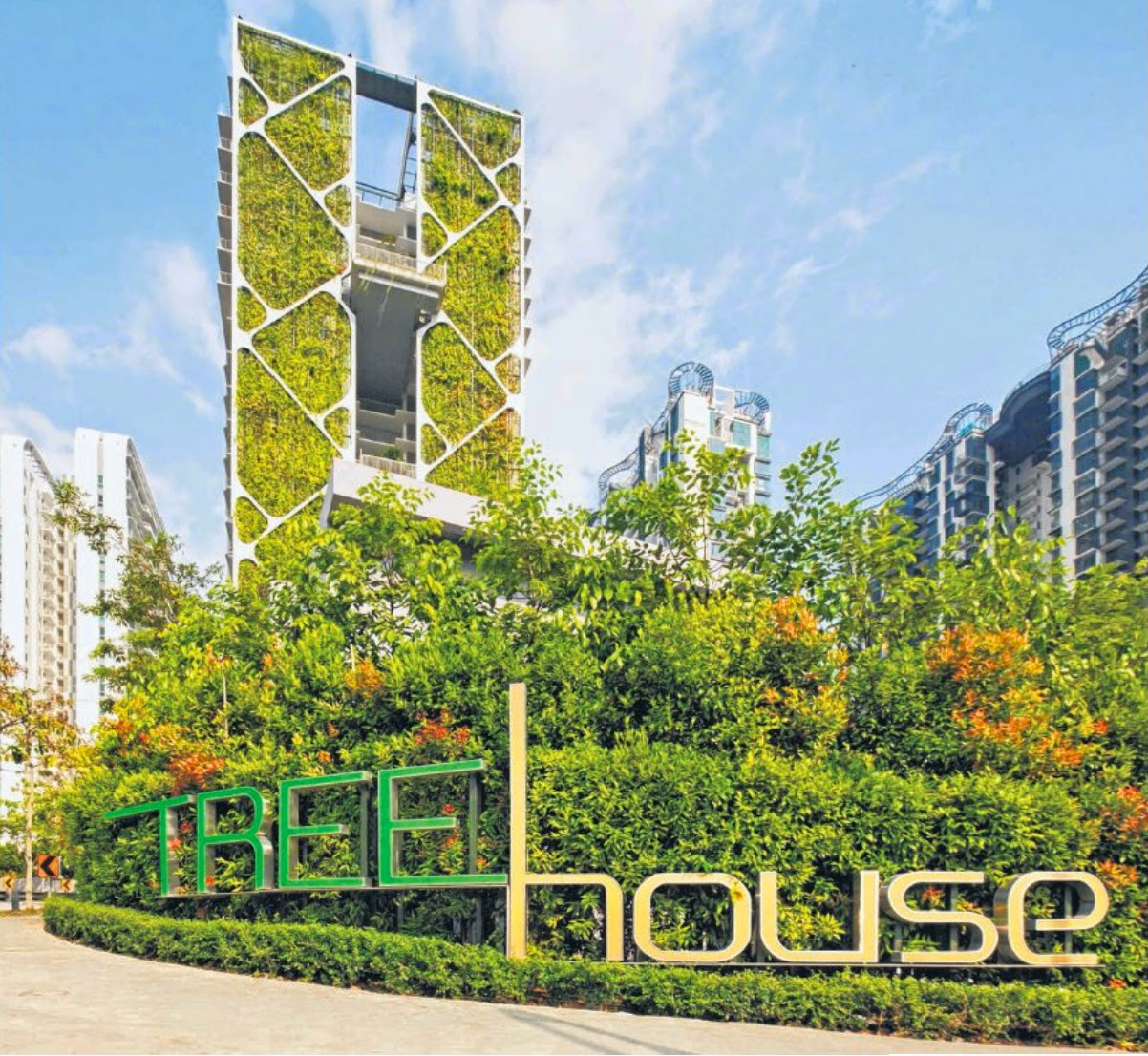 The largest vertical garden in the world: The Tree House condominium in Bukit Timah, with a 24-storey tower