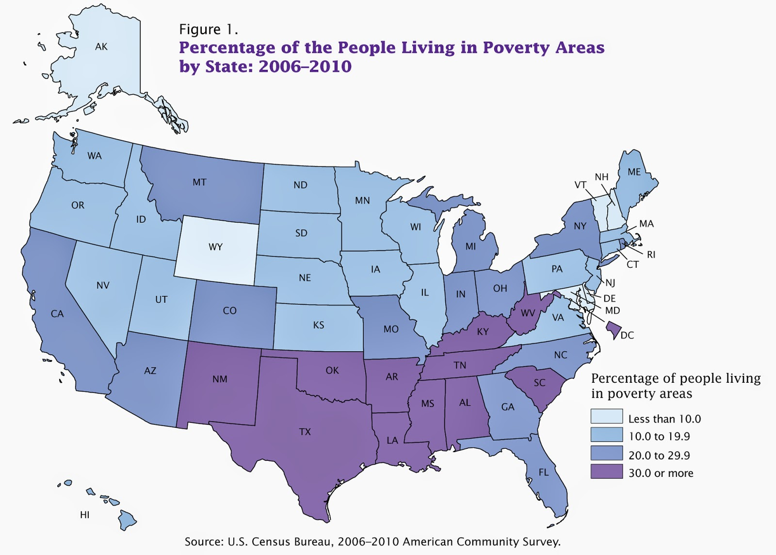 univariate choropleth map percentage of people in poverty in the u s