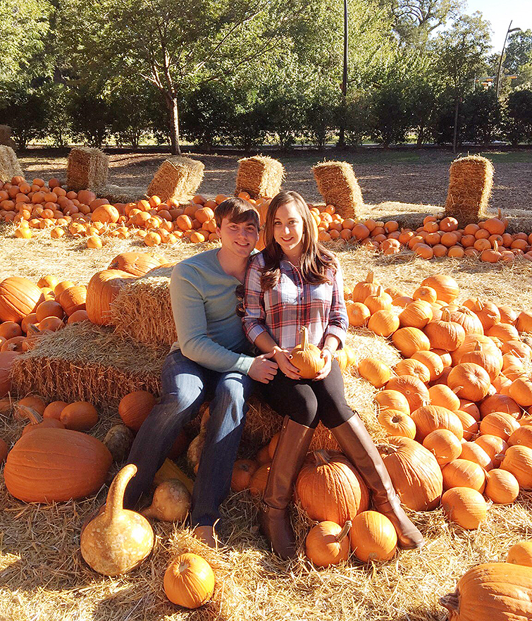 Fall pumpkin patch couples photo