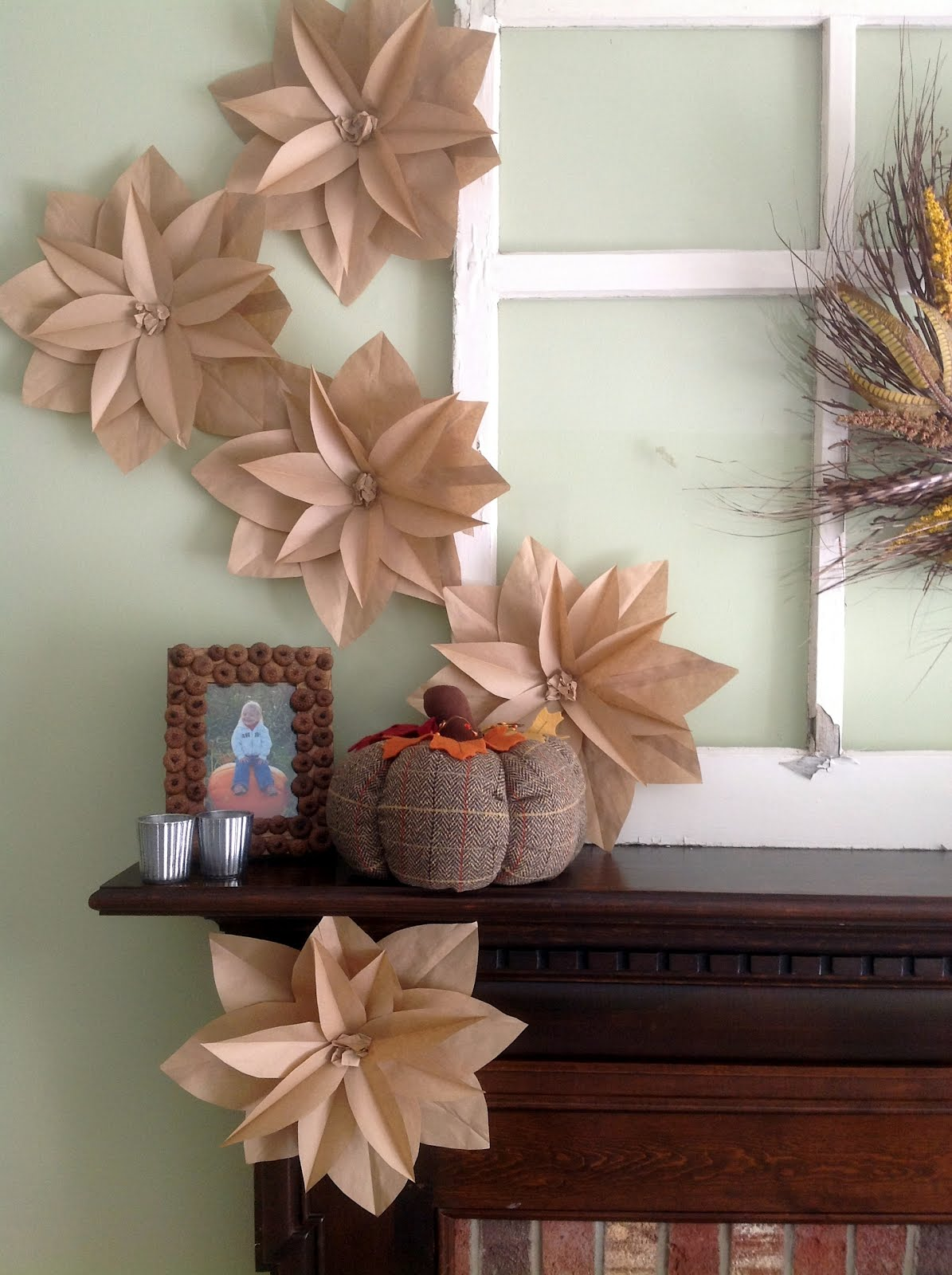 Home made modern fall mantel with brown paper bag flowers for Home decoration things