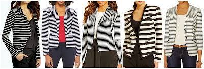 Boohoo Edna Striped Side Zip Blazer $26.00 (regular $35.00)  Merona Ponte Blazer $29.99  Gianni Bini Harley Moto Striped Jacket $41.65 (regular $119.00)  Nine West Striped Zipper Pocket Jacket $74.99 (regular $99.00)  The Limited Nautical Blazer $96.60 (regular $138.00)