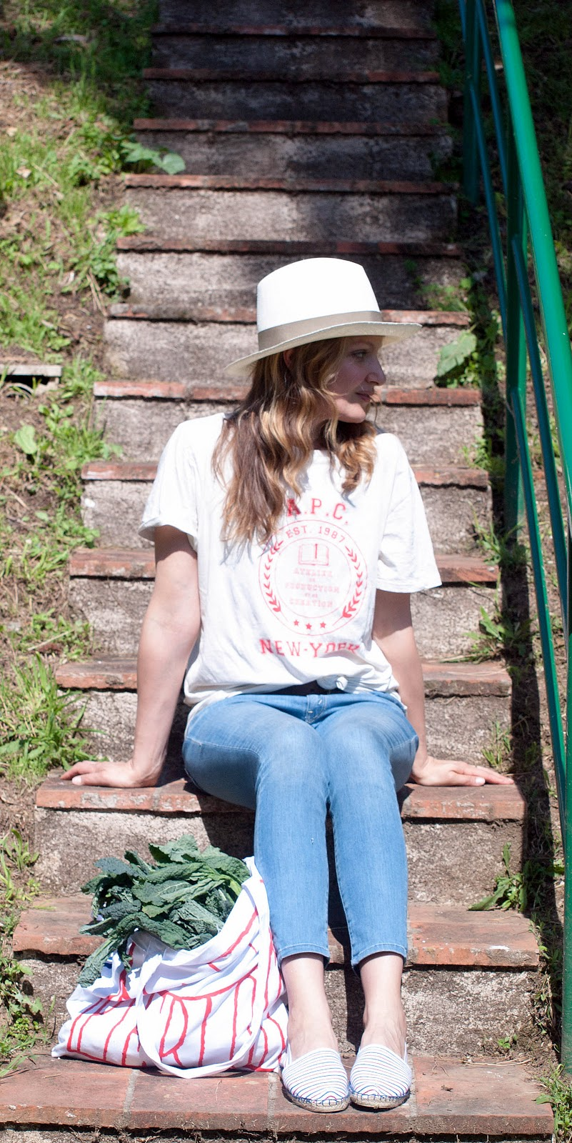 Claudie Pierlot, Claudie Pierlot espadrilles, A.p.C. logo t-shirt, Pachacuti hat, Mother the looker