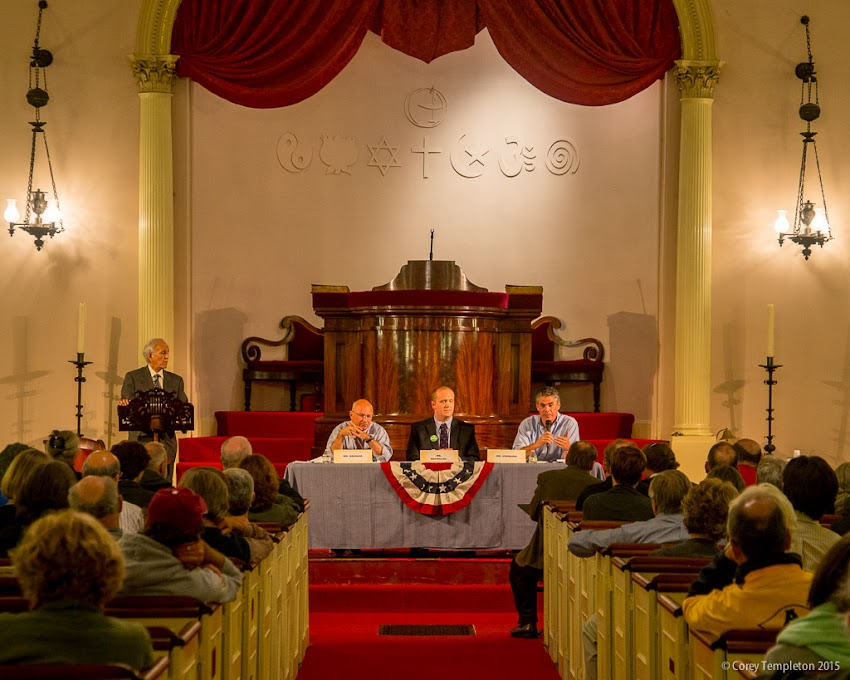 October 2015 Portland, Maine USA Mayoral Debate photo by Corey Templeton at the First Parish Church. Mayor Michael Brennan, Thomas MacMillan, and Ethan Strimling.