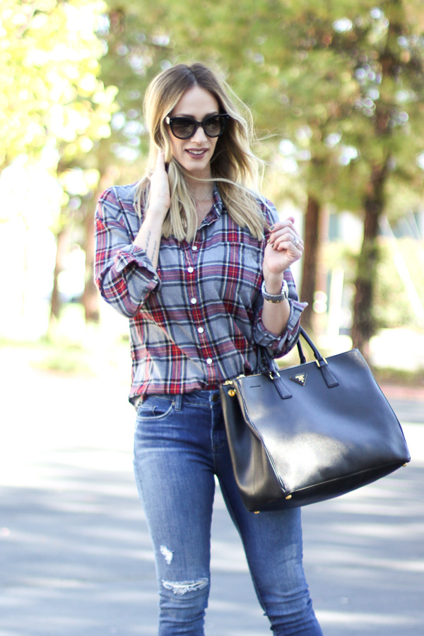 grey plaid top parlor girl