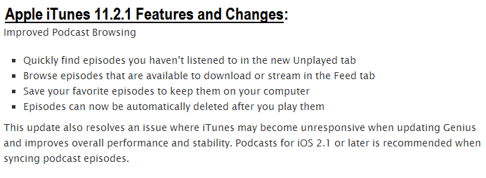 Apple iTunes 11.2.1 Features and Changes