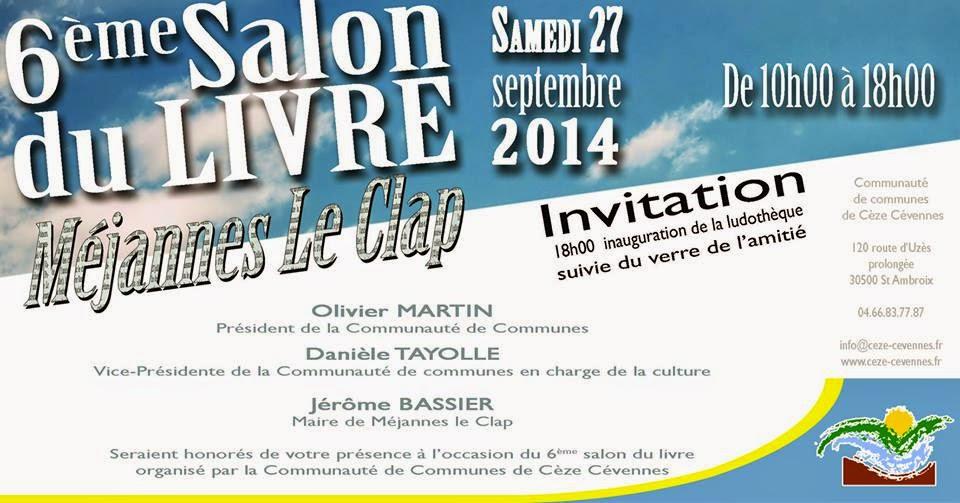 La tribune du clap salon du livre intercommunal le samedi 27 septembre m jannes le clap - Invitation salon du livre ...