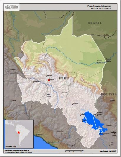 Map of Peru Cusco Mission