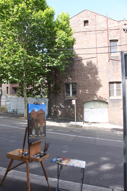 plein air oil painting of urban decay in Pyrmont by artist Jane Bennett