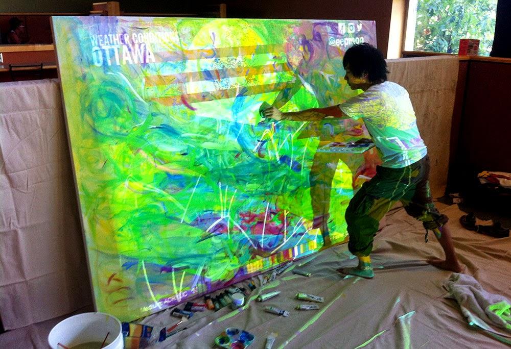 Artist eepmon working on his art, INTERSECTIONS