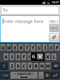 Samsung QWERTY Keypad for big letter Ñ