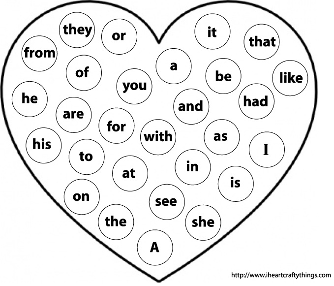 Valentineu0026#39;s Sight Word Practice : I Heart Crafty Things