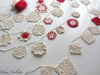 Organic crochet doily garland by Chez Violette