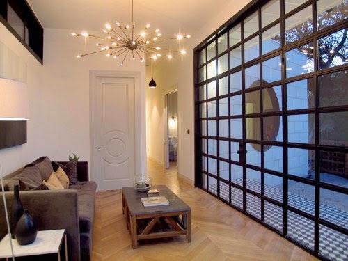 barcelona modern interior design with unique lamp