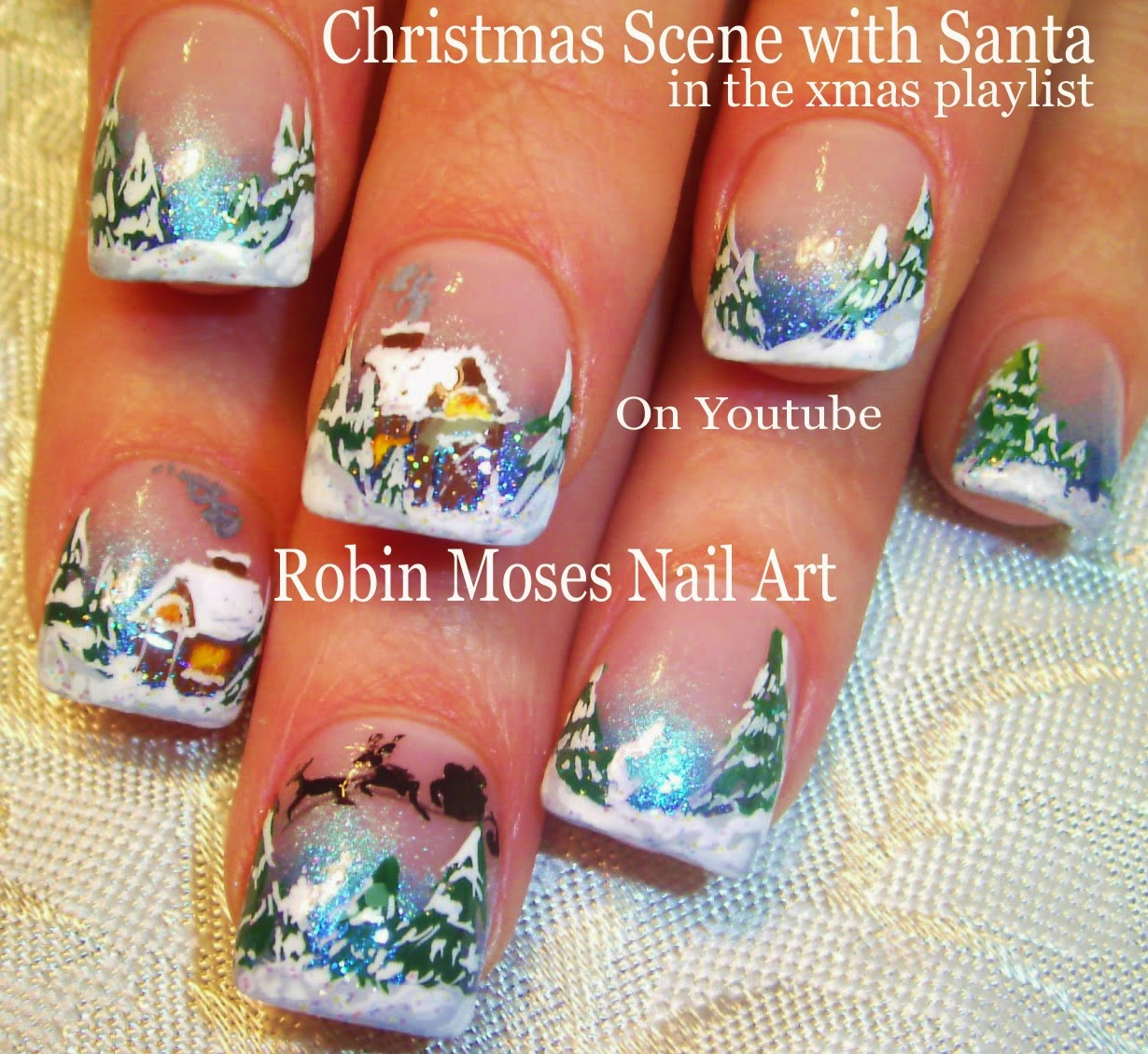 xmas nails christmas nails winter wonderland thomas kinkade nails winter scene christmas scene christmas ideas christmas clip art blue - Blue Christmas Nails