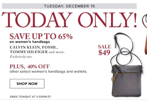 Hudson's Bay Women's Handbags Up To 65% Off One Day Sale