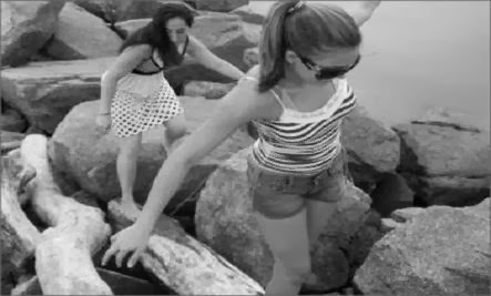 Are You A Good Friend - girls jumping rocks nature women stepping stones
