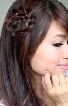 Rosette Flower Braid Hairstyle