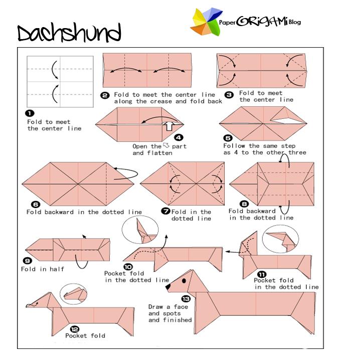 animals origami dachshund paper origami guide