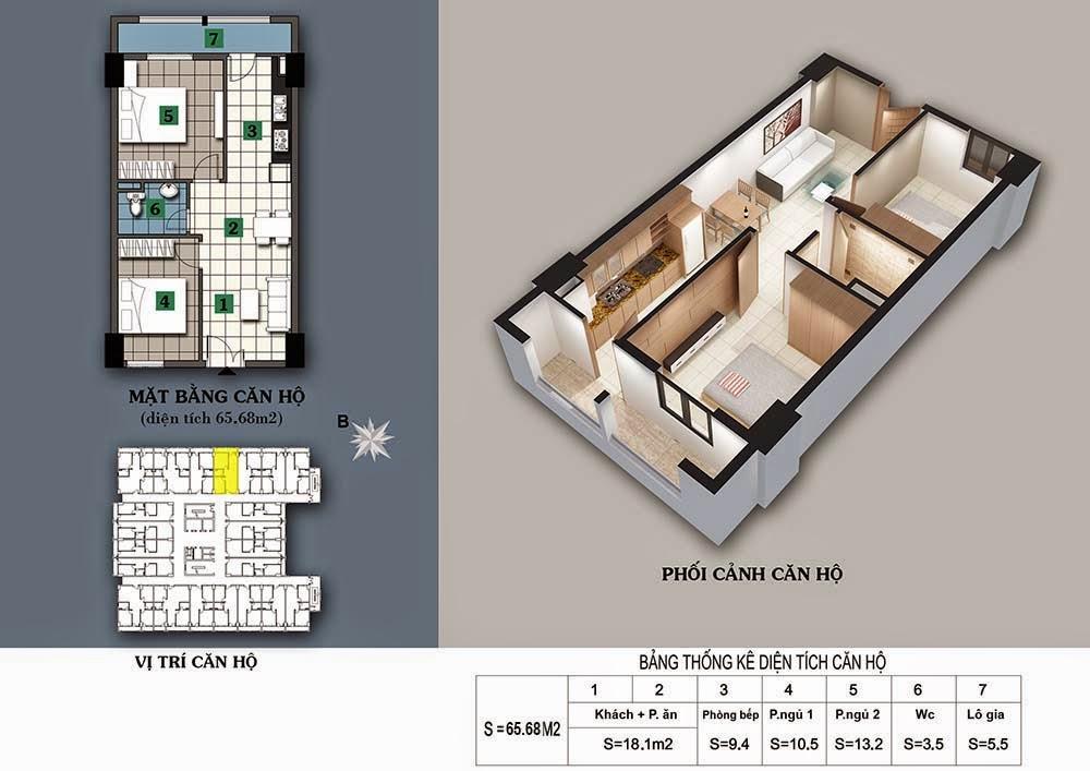 Thiết kế căn hộ 65,68m2