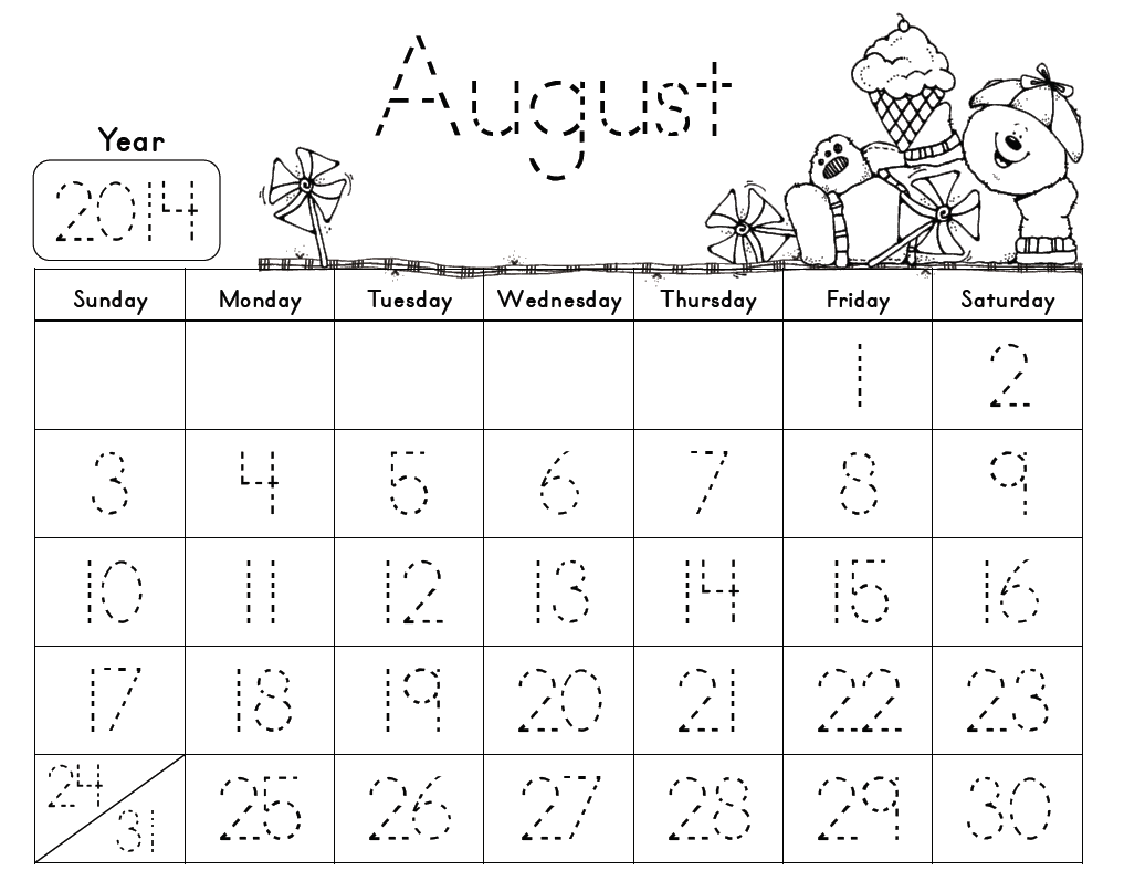 June Calendar Numbers For Preschool : Kindergarten traceable calendar search results