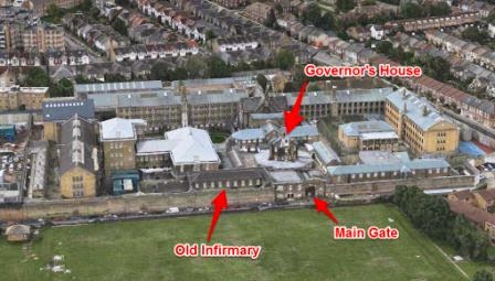 Aerial view of Brixton Prison from Apple Maps via Brixton Blog website.