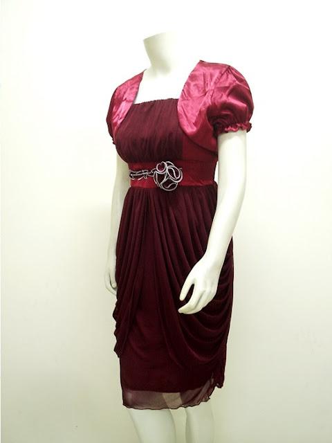 Gaun Pesta Syahrini Style + Bolero High Twist Import | LC-3597-Maroon