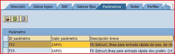 Parametros del usuario SAP