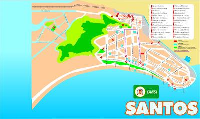 Mapa da orla de Santos - SP