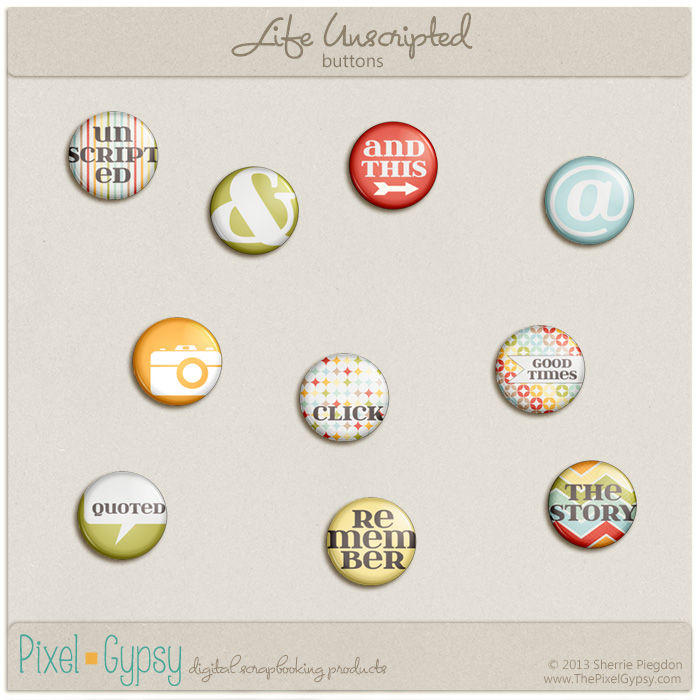 Life Unscripted Buttons Project Life Embellishment Pack