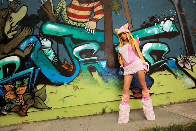 Sara Jean Underwood Cosplay photo beside a wall graffiti