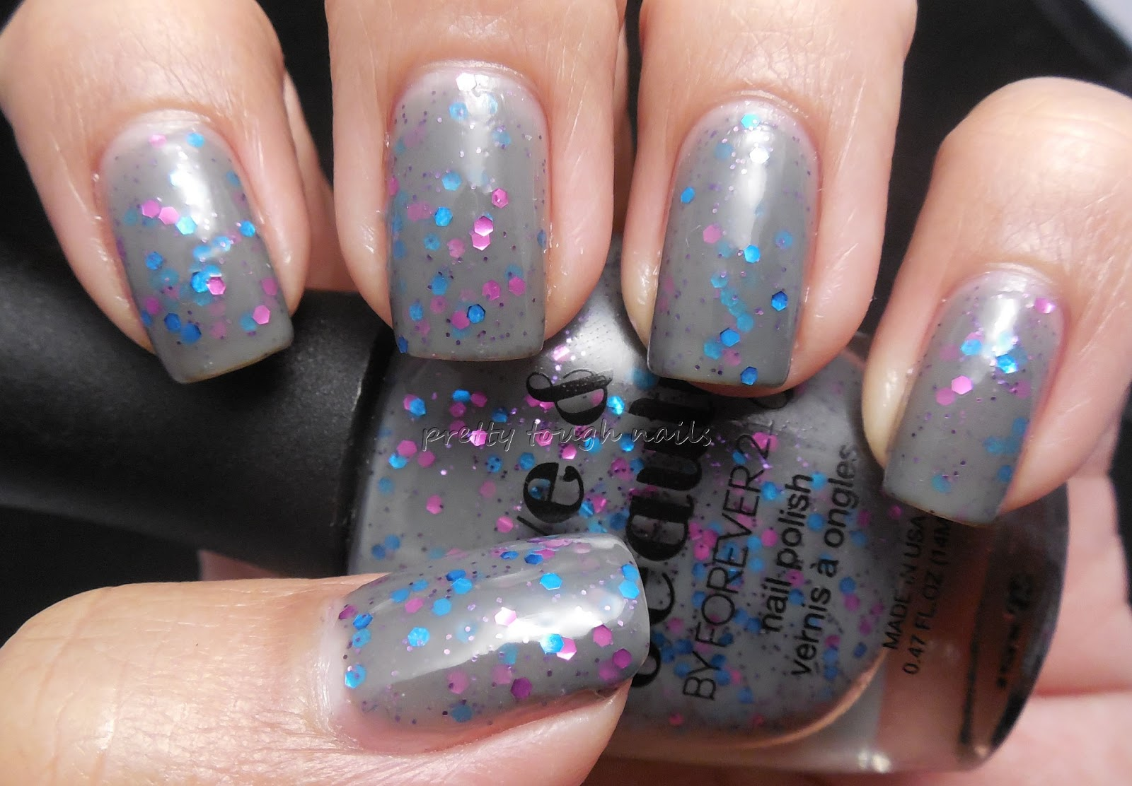 pretty::tough::nails::: Love & Beauty Grey / Hot Pink Swatch and Review