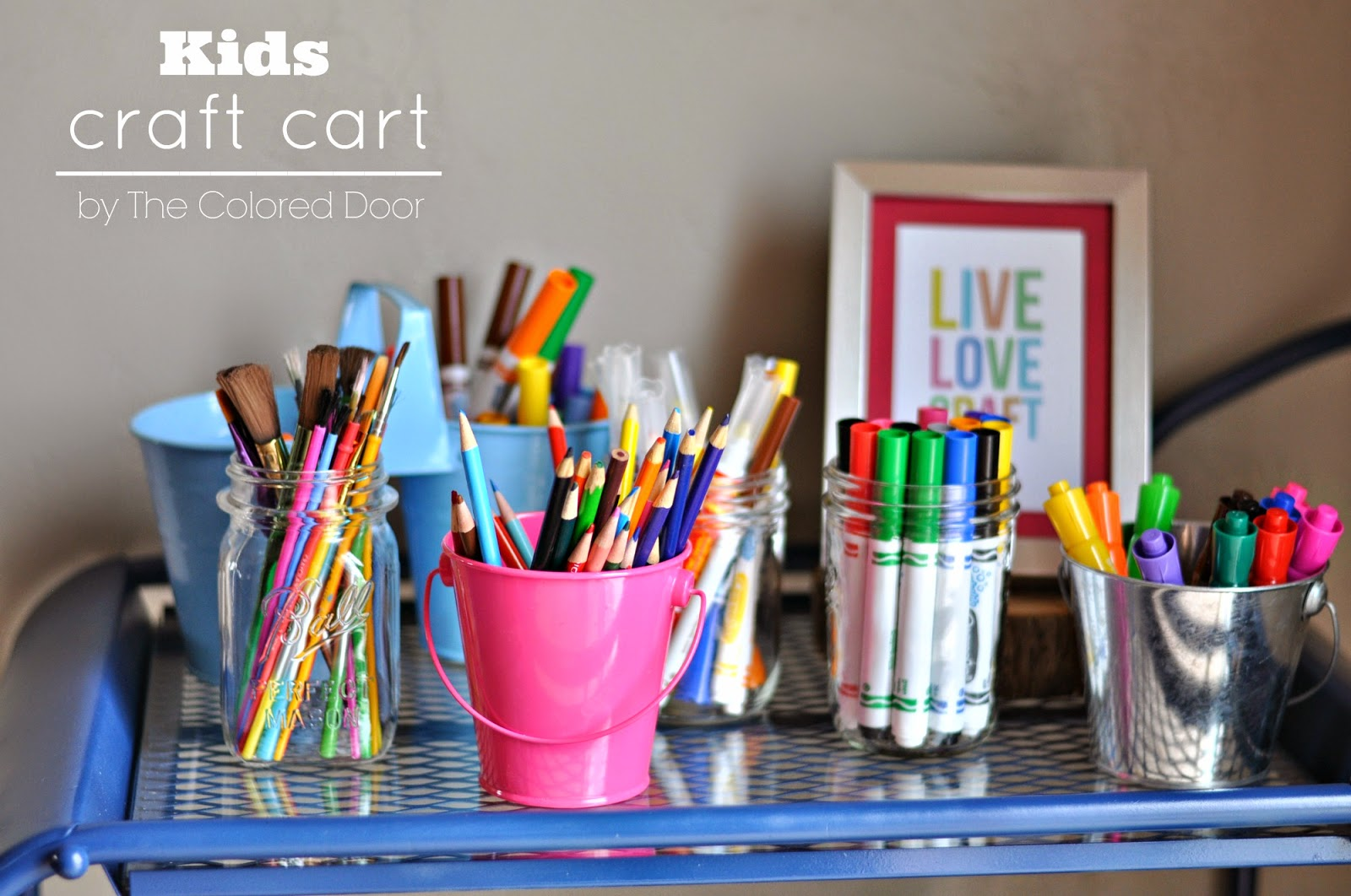 Kids Craft Cart, great idea for summer and impromptu craft sessions l The colored door