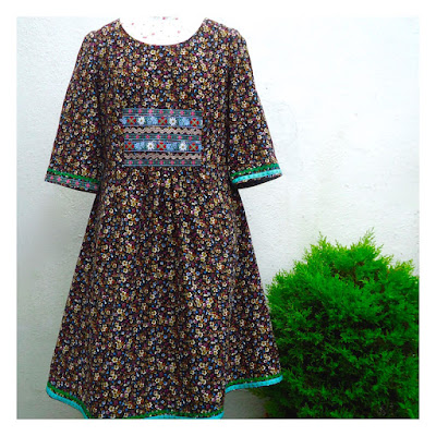 Liesl + Co Cinema dress with embroidered ribbons