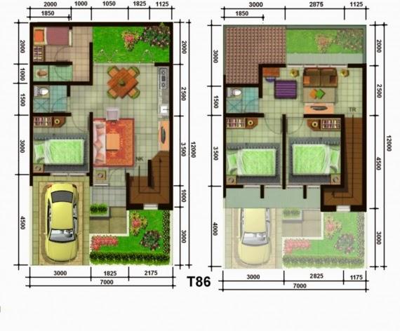 Denah Rumah Mewah Dua Lantai