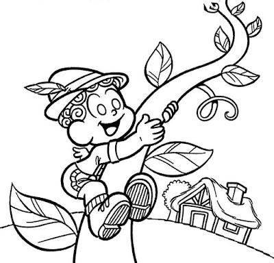 Desenho da Turma da Mônica/João e o pé de feijão para colorir