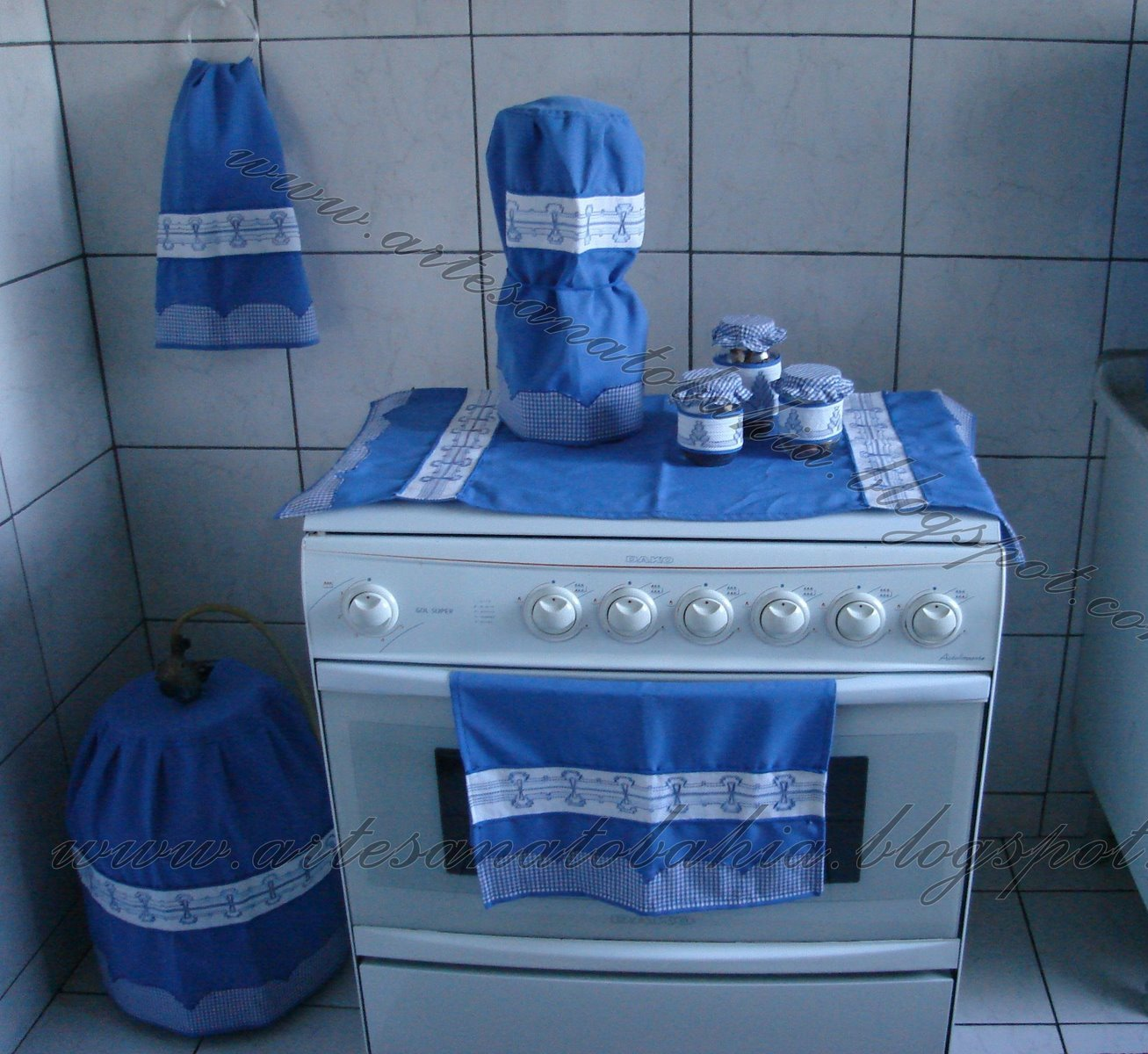 Artesanato Bahia A012 Jogo De Cozinha Bordado Vagonite Blue