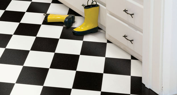 Leoladys house collectibles and gardens vintage kitchen for Black and white laminate floor tiles