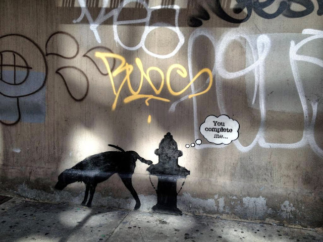 "Street Art By Banksy In New York City For ""Better Out Than In"" - Piece #3 You Complete Me. 5"