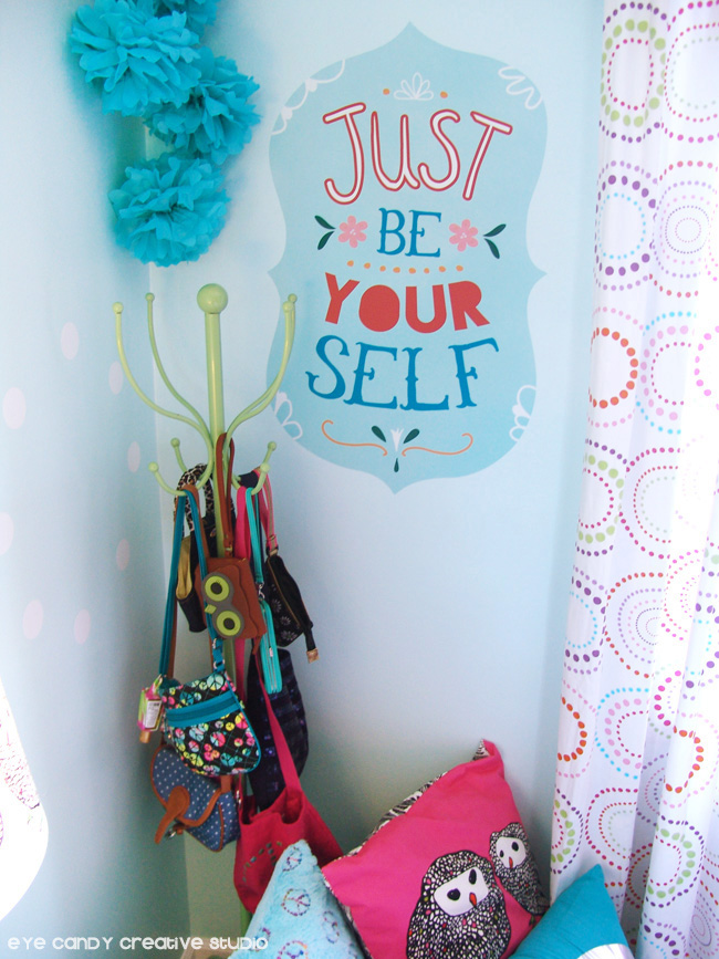 just be yourseld vinyl wall art, wallternatives vinyl, girls inspiration wall