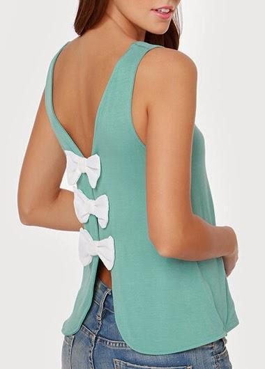 Blusa de Seda sin Mangas con Espalda con Escote V y Tres Lazos