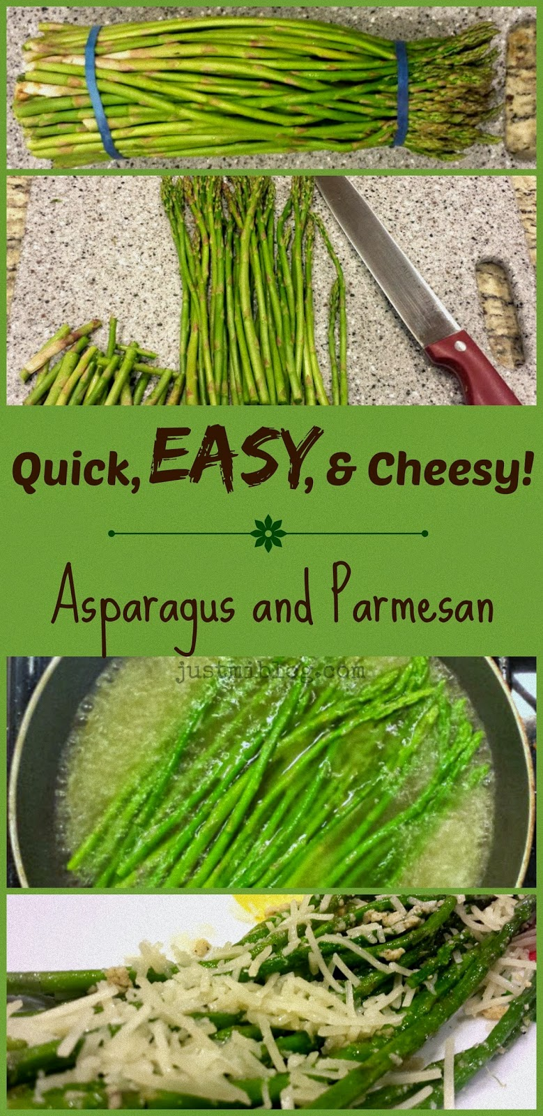 Prep for cooking cheesy asparagus.