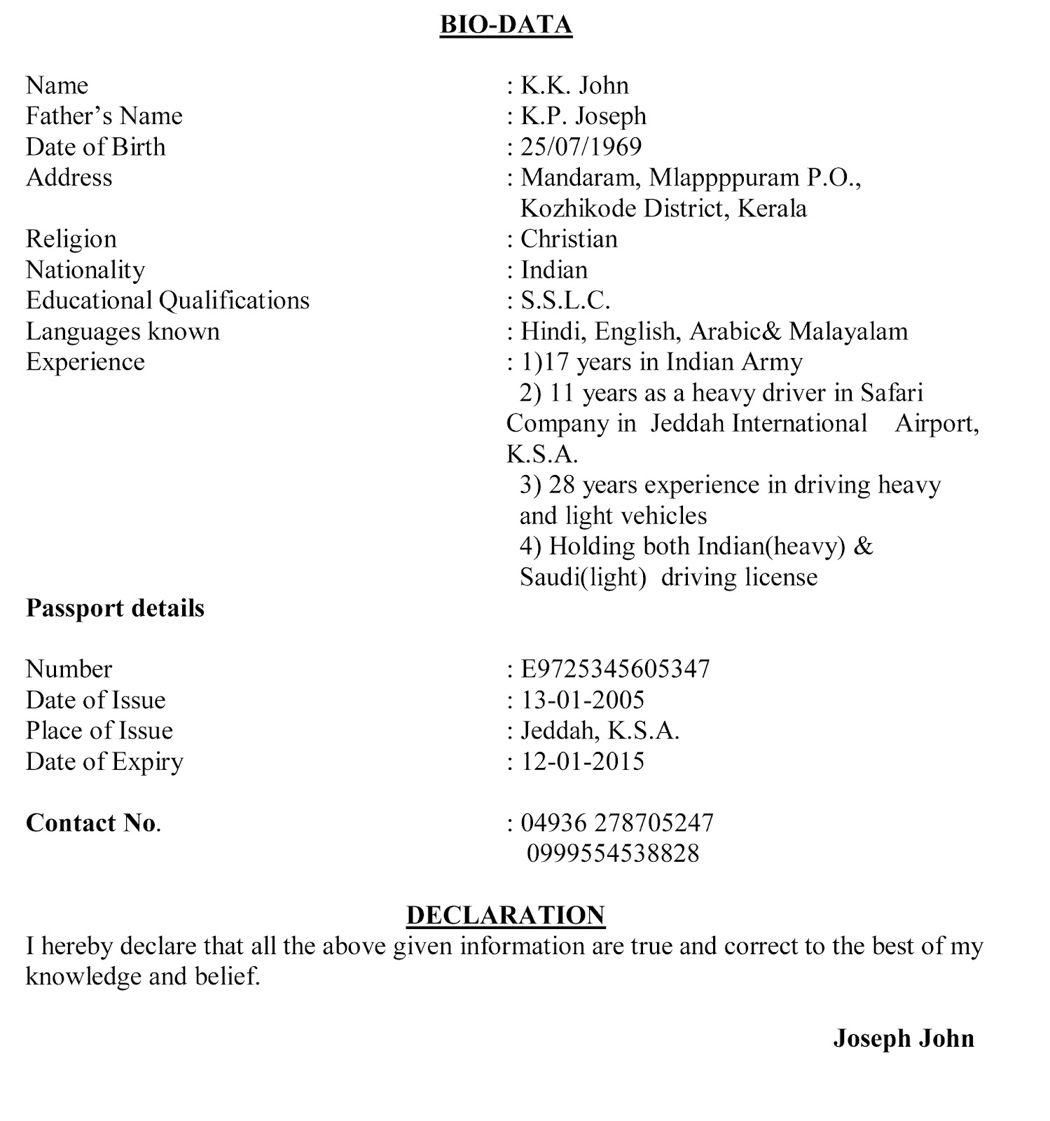 Cover Letter Sample Biodata For Marriage Purpose. Biodata Resume ...
